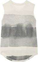 Raquel Allegra Tie-dyed Cotton-blend Jersey Tank - Gray