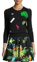 Marc Jacobs Paradise-Patch 3/4-Sleeve Sweater, Black