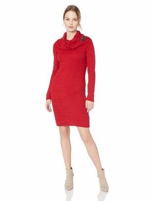 Sandra Darren Women's 1 PC Petite Long Sleeve Cowl Neck Sheath Sweater Dress