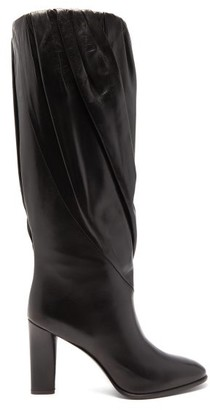 Givenchy Gathered Knee-high Leather Boots - Womens - Black