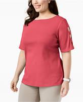 Karen Scott Plus Size Cotton Cutout-Sleeve T-Shirt, Created for Macy's