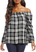 Chelsea & Theodore Off The Shoulder Plaid Top