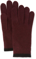 Portolano Cashmere Gloves w/Contrast Tipping, Bordeaux/Black