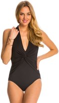 Michael Kors Swimwear Draped Solids Deep VTwist Halter One Piece Swimsuit - 8142801