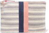 Clare Vivier Striped Canvas Clutch - Cream