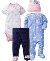 Gerber 4-Piece Bear Bodysuit, Footie, Footed Pant, and Hat Set