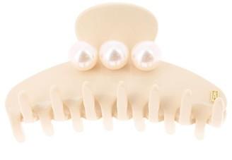 Alexandre de Paris Hair Clip Oversize Pearls Beige 7.5Cm