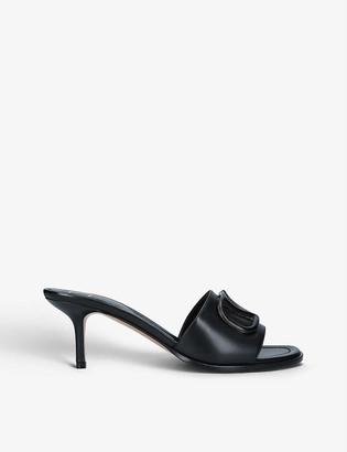 Valentino Logo-embellished leather heeled mules