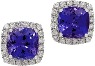 Cushion Tanzanite and Diamond Stud Earrings, 14K, 2.60 cttw