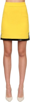 ROWEN ROSE Wool Crepe Mini Skirt W/ Vinyl