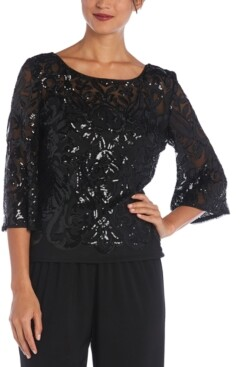 R & M Richards Sequinned Bell-Sleeve Top