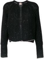 Nude chunky knit cardigan - women - Acrylic/Polyester/Viscose/Alpaca - 40