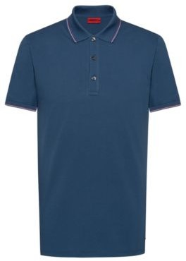 Slim-fit polo shirt in baby piqu with tipping stripes
