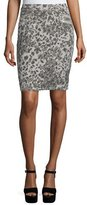 Current/Elliott The Geneva Leopard Pencil Skirt, Steel Gray