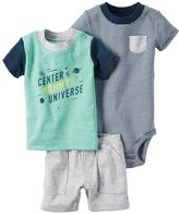 Carter's Baby Boy Striped Bodysuit, Space Tee & Shorts Set