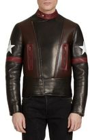 Givenchy Lamb Leather Moto Star Print Jacket
