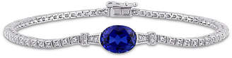 FINE JEWELRY Lab Created Blue Sapphire Sterling Silver 7 Inch Tennis Bracelet