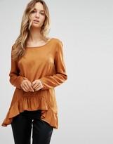Vila Long Sleeve T-Shirt With Peplum Hem