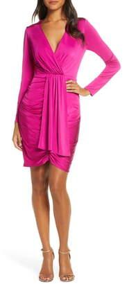 Eliza J Shirred Front Long Sleeve Cocktail Dress