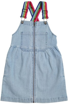 Stella Mccartney Kids Stretch Denim Dress W/ Logo Straps