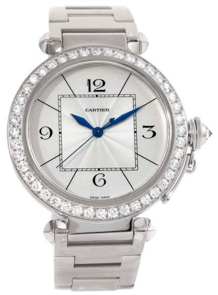 Cartier Pasha WJ1202M9 18K White Gold & Diamond 42mm Mens Watch