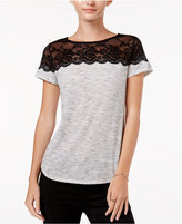 Maison Jules Printed Lace-Yoke T-Shirt, Only at Macy's