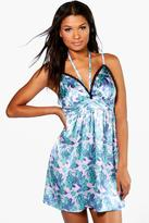 boohoo Eleanor Tropical Floral Satin Babydoll lilac
