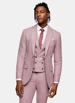 TopmanTopman Pink Slim Fit Warm Handle Single Breasted Suit Blazer With Notch Lapels