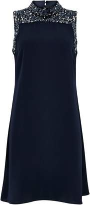 Wallis Navy Embellished High Neck Swing Dress