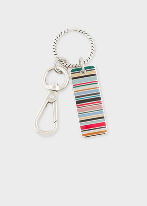 Paul Smith Multi-Coloured Stripe Tag Metal Keyring
