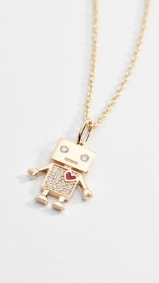 Sydney Evan 14k Gold Love Robot Necklace