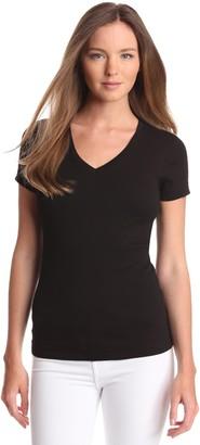 Three Dots Women's Short Sleeve Mid-V Neck Tee