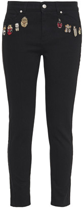 Alexander McQueen Embroidered Mid-rise Slim-leg Jeans