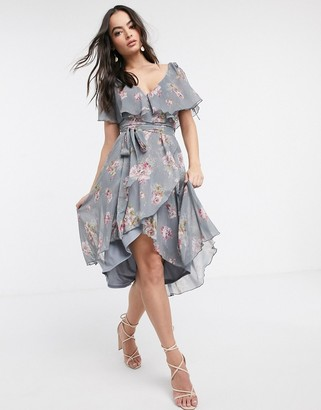 ASOS DESIGN split sleeve cape back dipped hem midi dress with tie shoulder in floral print