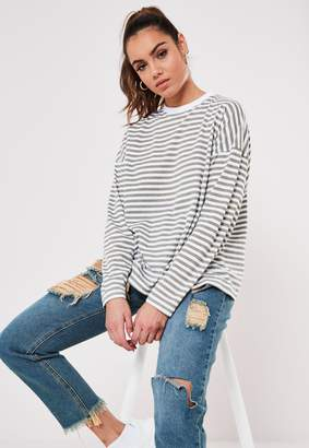 Missguided Green Stripe Drop Shoulder Long Sleeve T Shirt
