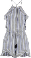 Zimmermann Zephyr Ruffled Cotton And Linen-blend Playsuit - Blue