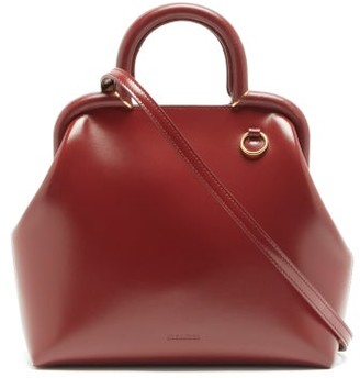 Jil Sander Logo-debossed Small Top-handle Leather Handbag - Burgundy