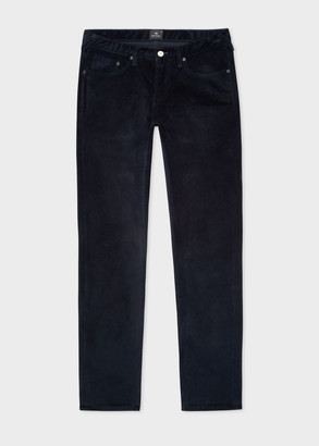 Men's Tapered-Fit Dark Navy Corduroy Five Pocket Trousers
