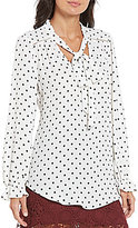 Soulmates Polka Dot Tie-Neck Ruffled-Cuff High-Low Hem Blouse