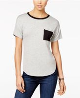 Belle Du Jour Juniors' Contrast Pocket Ringer T-Shirt