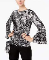Cable & Gauge Printed Split-Bell-Sleeve Top