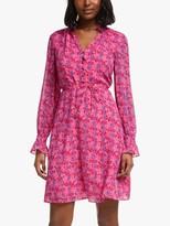 Boden Evangeline Floral Print Mini Dress, Bright Camellia