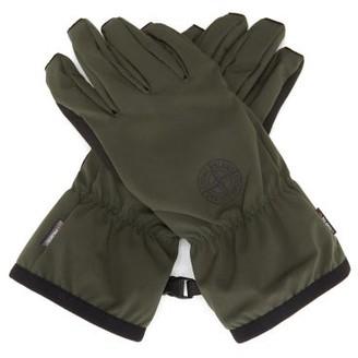 Stone Island Compass Logo-print Soft Shell-r Gloves - Dark Green
