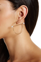 Stephan & Co G-Shape Simulated Pearl Hoop Earrings
