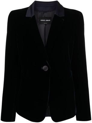 Giorgio Armani Velvet-Effect Single-Breasted Blazer
