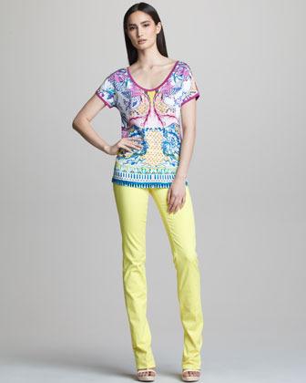 Roberto Cavalli Straight-Leg Jeans, Lemon