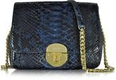 Ghibli Midnight Blue Phyton Leather Shoulder Bag