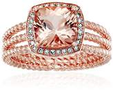 10k Rose Gold AAA Morganite And Diamond Cushion Halo Engagement Ring (1/10cttw