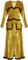 ALESSANDRA RICH Floral-print ruffle-trimmed velvet dress