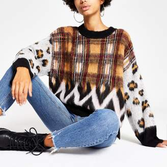 River Island Womens Red mixed print knitted jumper